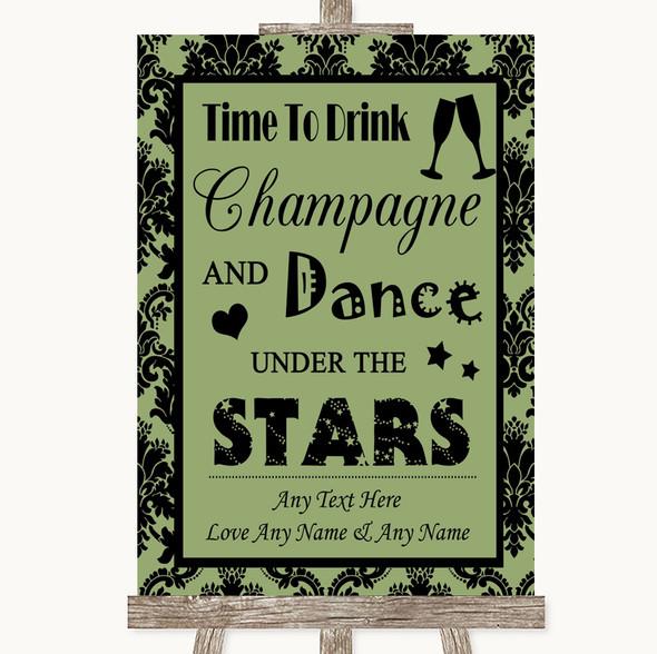 Sage Green Damask Drink Champagne Dance Stars Personalised Wedding Sign