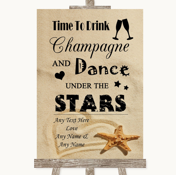 Sandy Beach Drink Champagne Dance Stars Personalised Wedding Sign