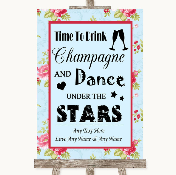 Shabby Chic Floral Drink Champagne Dance Stars Personalised Wedding Sign