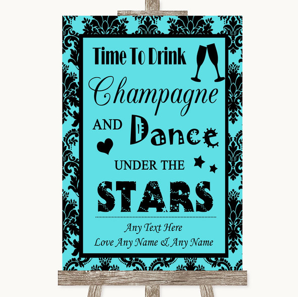 Tiffany Blue Damask Drink Champagne Dance Stars Personalised Wedding Sign