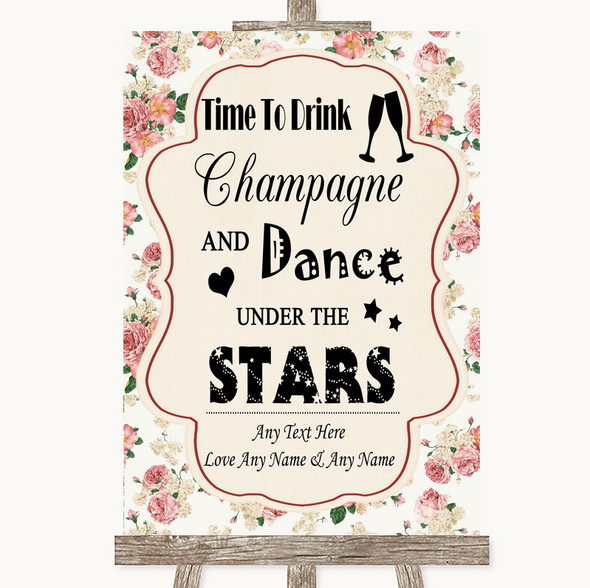Vintage Roses Drink Champagne Dance Stars Personalised Wedding Sign