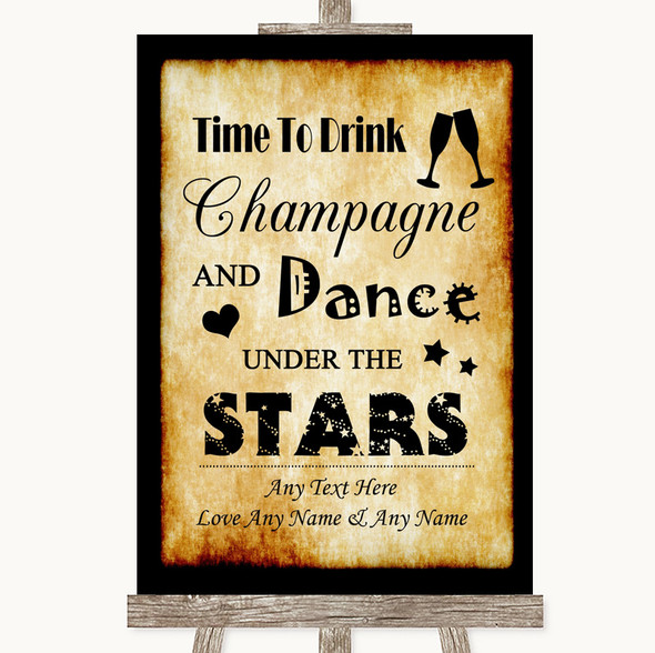 Western Drink Champagne Dance Stars Personalised Wedding Sign