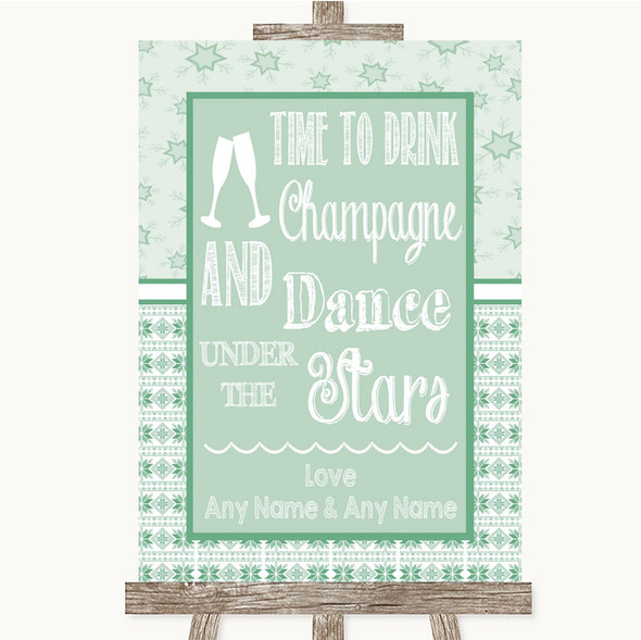 Winter Green Drink Champagne Dance Stars Personalised Wedding Sign
