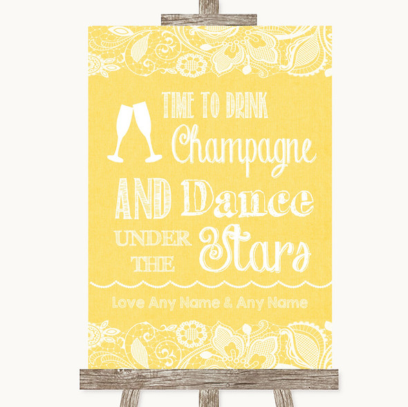 Yellow Burlap & Lace Drink Champagne Dance Stars Personalised Wedding Sign