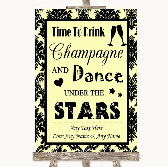 Yellow Damask Drink Champagne Dance Stars Personalised Wedding Sign