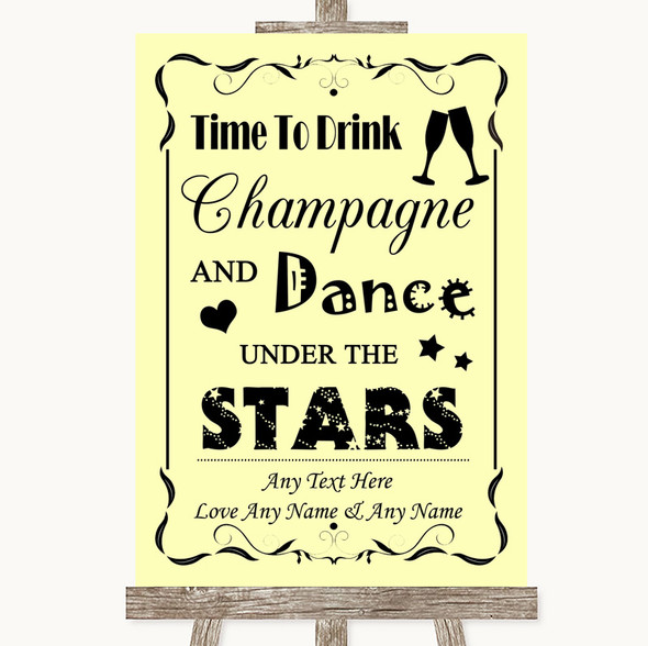 Yellow Drink Champagne Dance Stars Personalised Wedding Sign