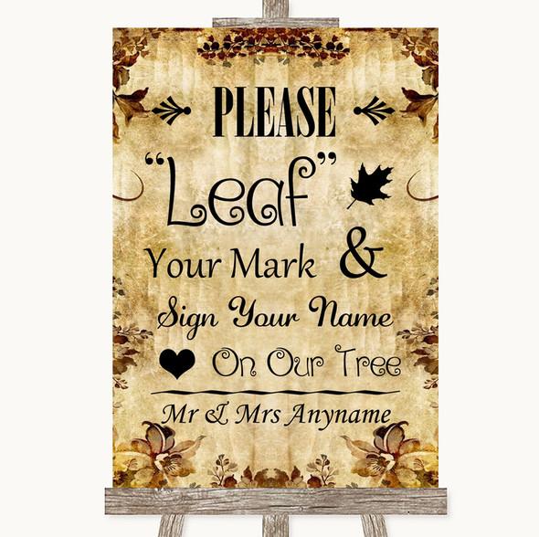 Autumn Vintage Fingerprint Tree Instructions Personalised Wedding Sign