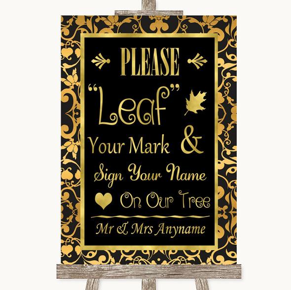 Black & Gold Damask Fingerprint Tree Instructions Personalised Wedding Sign