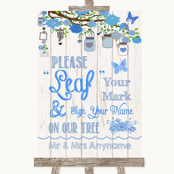 Blue Rustic Wood Fingerprint Tree Instructions Personalised Wedding Sign