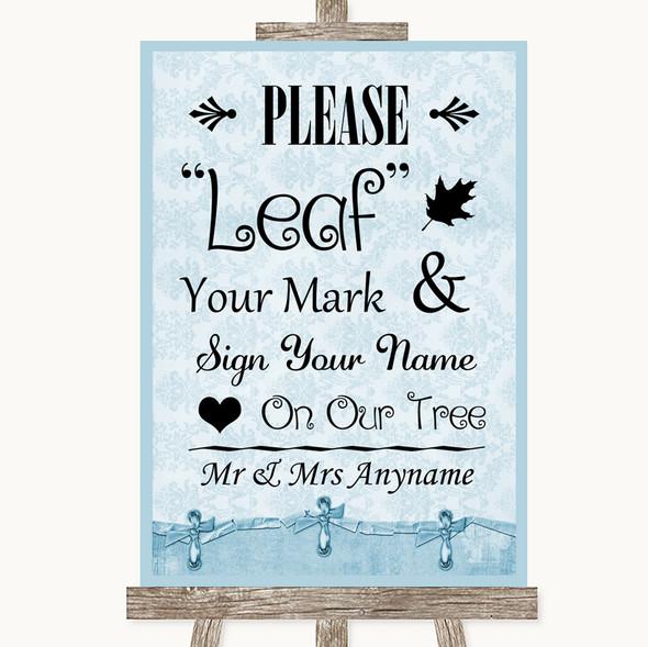 Blue Shabby Chic Fingerprint Tree Instructions Personalised Wedding Sign