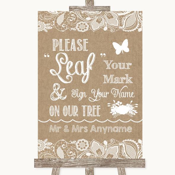 Burlap & Lace Fingerprint Tree Instructions Personalised Wedding Sign