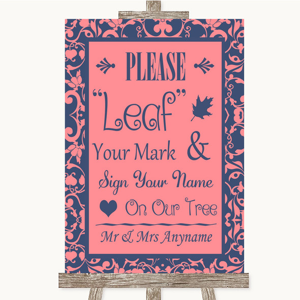 Coral Pink & Blue Fingerprint Tree Instructions Personalised Wedding Sign