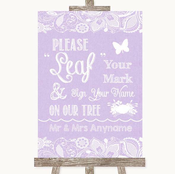 Lilac Burlap & Lace Fingerprint Tree Instructions Personalised Wedding Sign