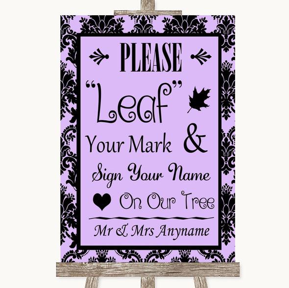 Lilac Damask Fingerprint Tree Instructions Personalised Wedding Sign