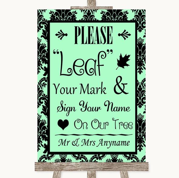Mint Green Damask Fingerprint Tree Instructions Personalised Wedding Sign