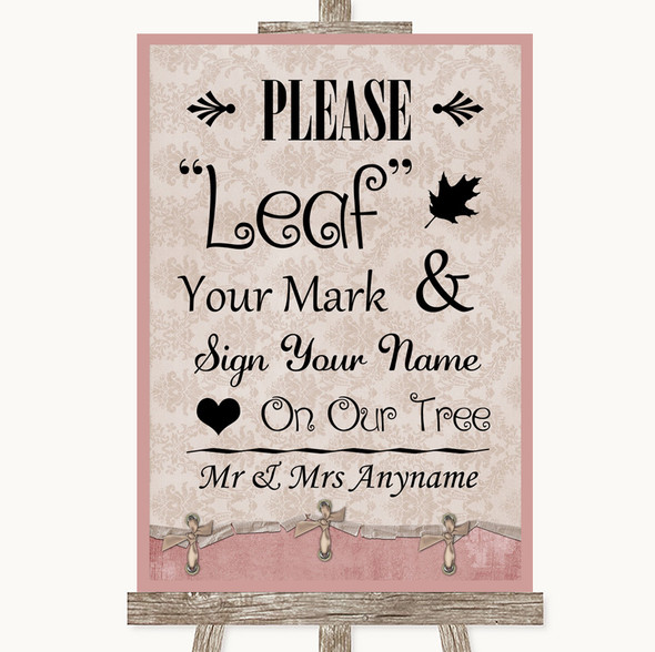 Pink Shabby Chic Fingerprint Tree Instructions Personalised Wedding Sign