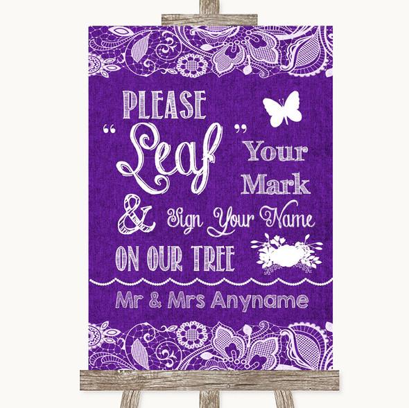 Purple Burlap & Lace Fingerprint Tree Instructions Personalised Wedding Sign