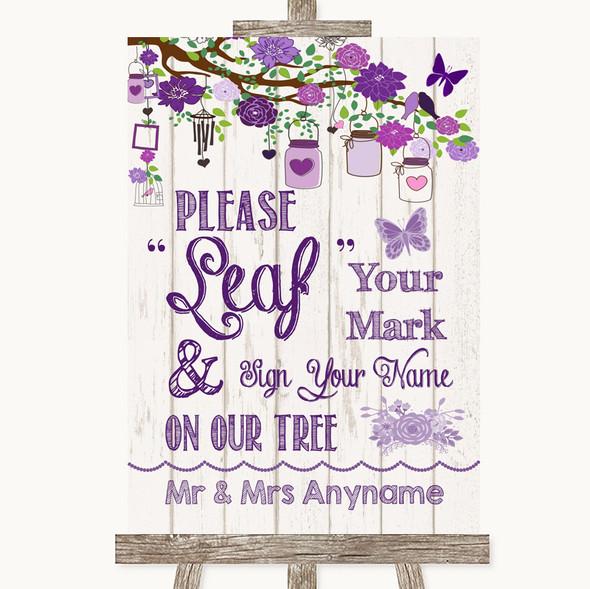 Purple Rustic Wood Fingerprint Tree Instructions Personalised Wedding Sign