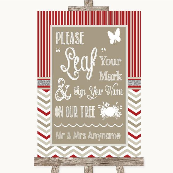 Red & Grey Winter Fingerprint Tree Instructions Personalised Wedding Sign