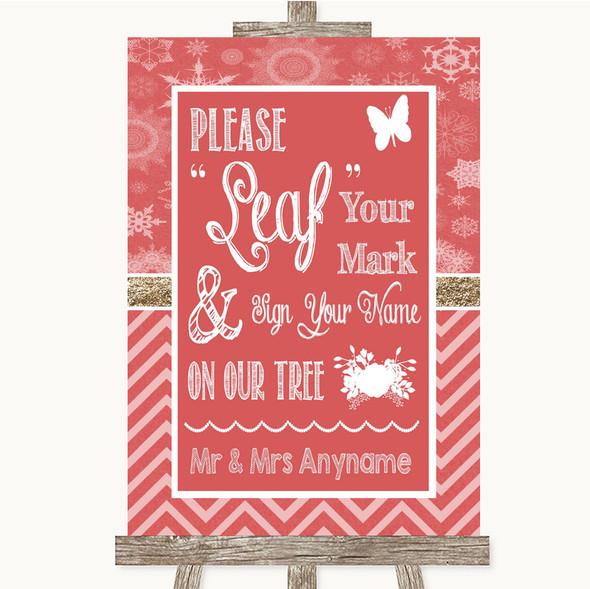 Red Winter Fingerprint Tree Instructions Personalised Wedding Sign