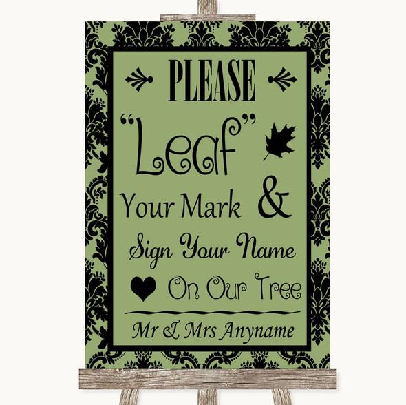 Sage Green Damask Fingerprint Tree Instructions Personalised Wedding Sign