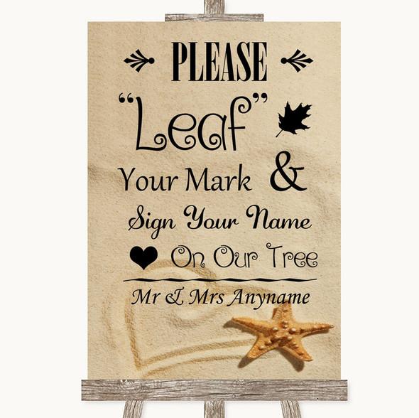 Sandy Beach Fingerprint Tree Instructions Personalised Wedding Sign
