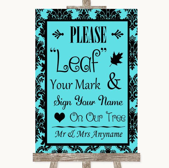Tiffany Blue Damask Fingerprint Tree Instructions Personalised Wedding Sign