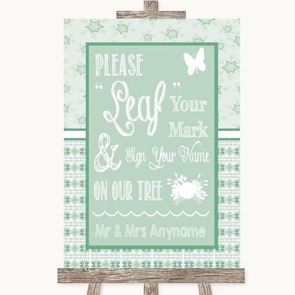 Winter Green Fingerprint Tree Instructions Personalised Wedding Sign
