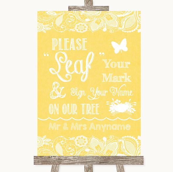 Yellow Burlap & Lace Fingerprint Tree Instructions Personalised Wedding Sign