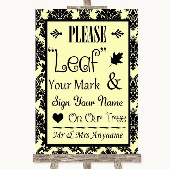 Yellow Damask Fingerprint Tree Instructions Personalised Wedding Sign