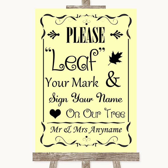 Yellow Fingerprint Tree Instructions Personalised Wedding Sign