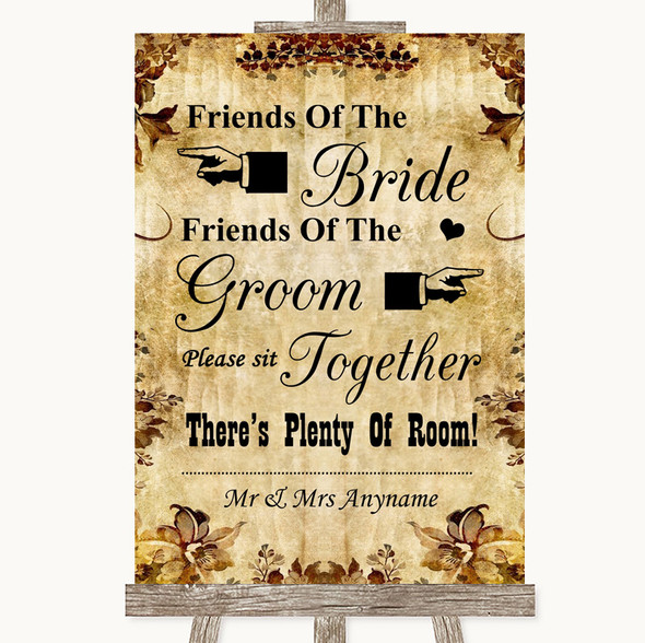 Autumn Vintage Friends Of The Bride Groom Seating Personalised Wedding Sign