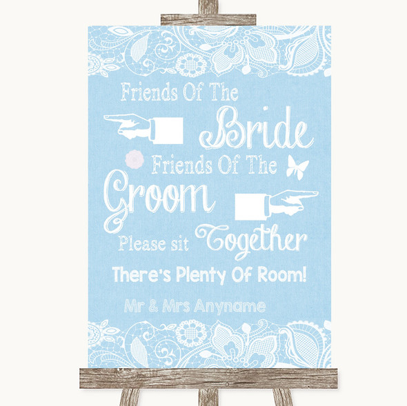 Blue Burlap & Lace Friends Of The Bride Groom Seating Personalised Wedding Sign