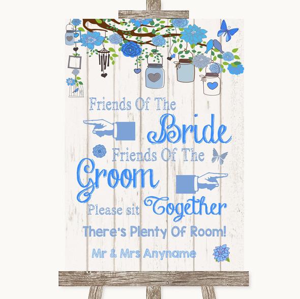 Blue Rustic Wood Friends Of The Bride Groom Seating Personalised Wedding Sign