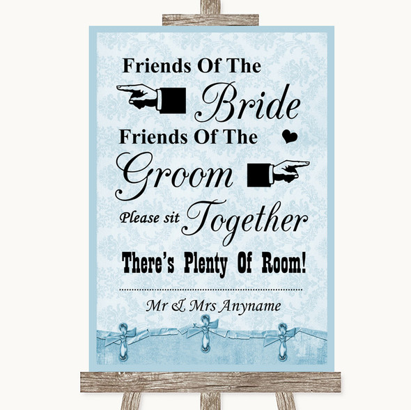 Blue Shabby Chic Friends Of The Bride Groom Seating Personalised Wedding Sign