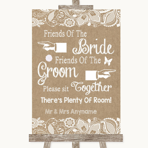 Burlap & Lace Friends Of The Bride Groom Seating Personalised Wedding Sign