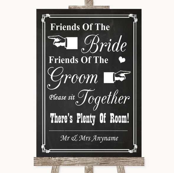Chalk Style Friends Of The Bride Groom Seating Personalised Wedding Sign