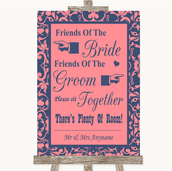Coral Pink & Blue Friends Of The Bride Groom Seating Personalised Wedding Sign
