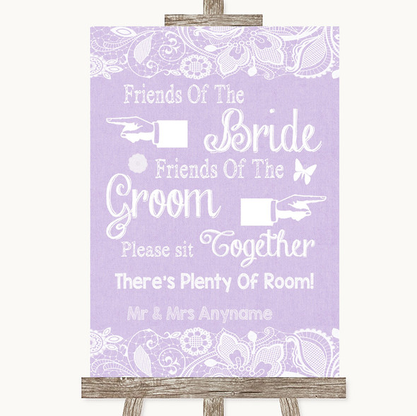 Lilac Burlap & Lace Friends Of The Bride Groom Seating Personalised Wedding Sign