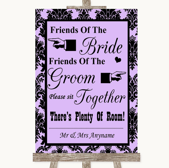 Lilac Damask Friends Of The Bride Groom Seating Personalised Wedding Sign