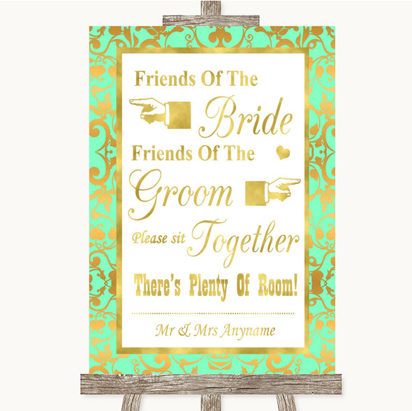 Mint Green & Gold Friends Of The Bride Groom Seating Personalised Wedding Sign