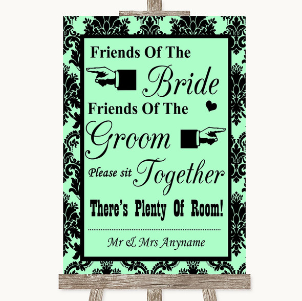 Mint Green Damask Friends Of The Bride Groom Seating Personalised Wedding Sign