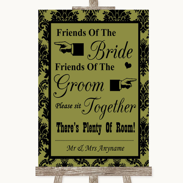 Olive Green Damask Friends Of The Bride Groom Seating Personalised Wedding Sign