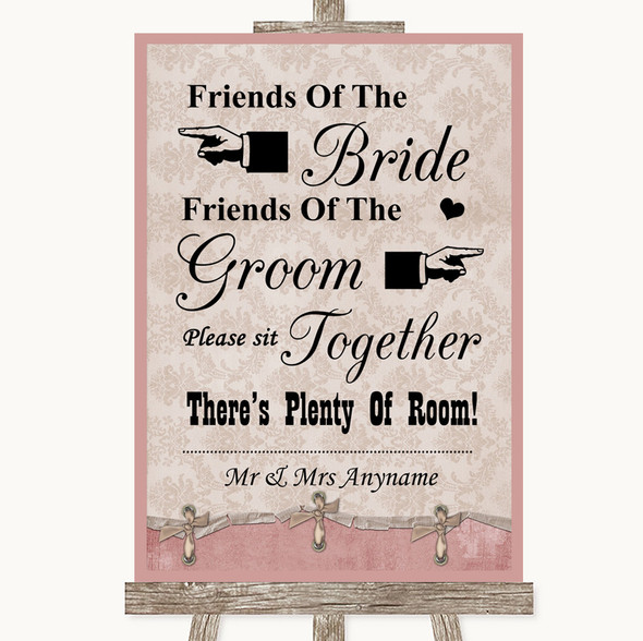 Pink Shabby Chic Friends Of The Bride Groom Seating Personalised Wedding Sign