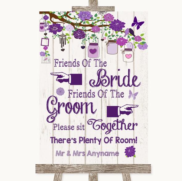 Purple Rustic Wood Friends Of The Bride Groom Seating Personalised Wedding Sign