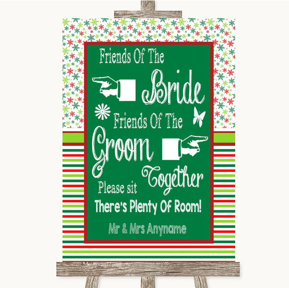 Red & Green Winter Friends Of The Bride Groom Seating Personalised Wedding Sign