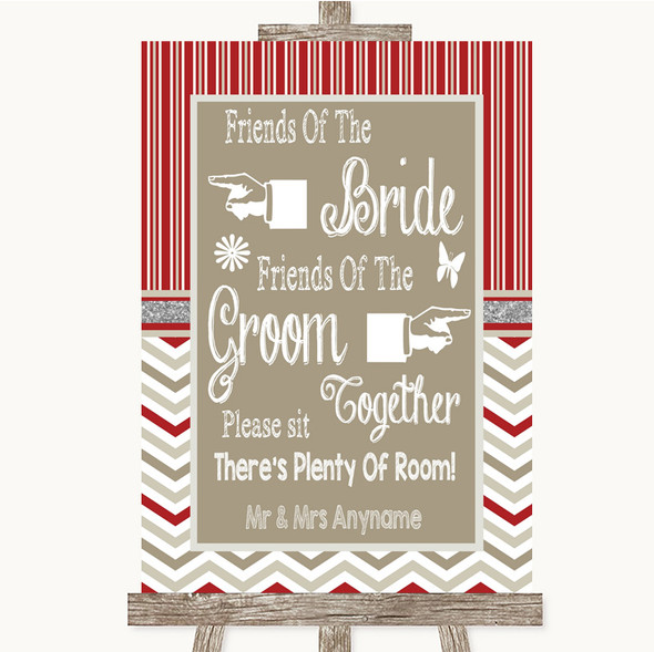 Red & Grey Winter Friends Of The Bride Groom Seating Personalised Wedding Sign