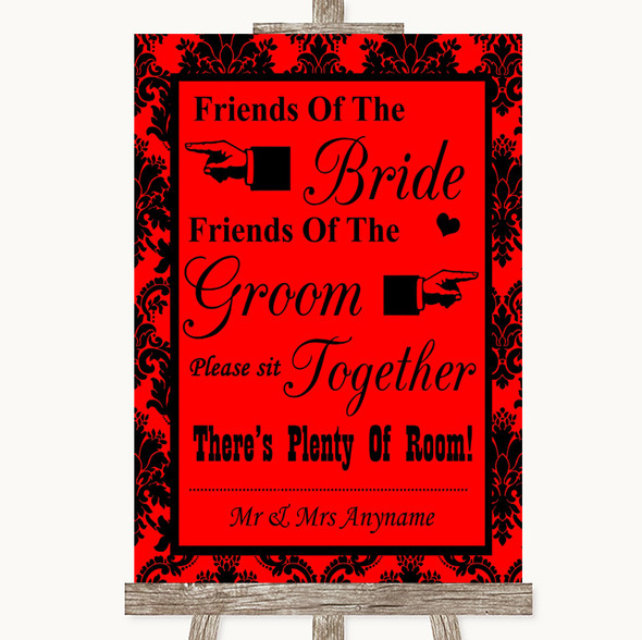Red Damask Friends Of The Bride Groom Seating Personalised Wedding Sign