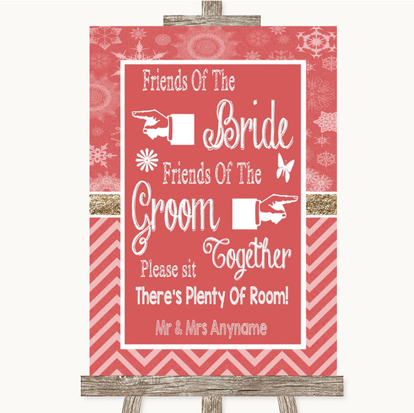 Red Winter Friends Of The Bride Groom Seating Personalised Wedding Sign