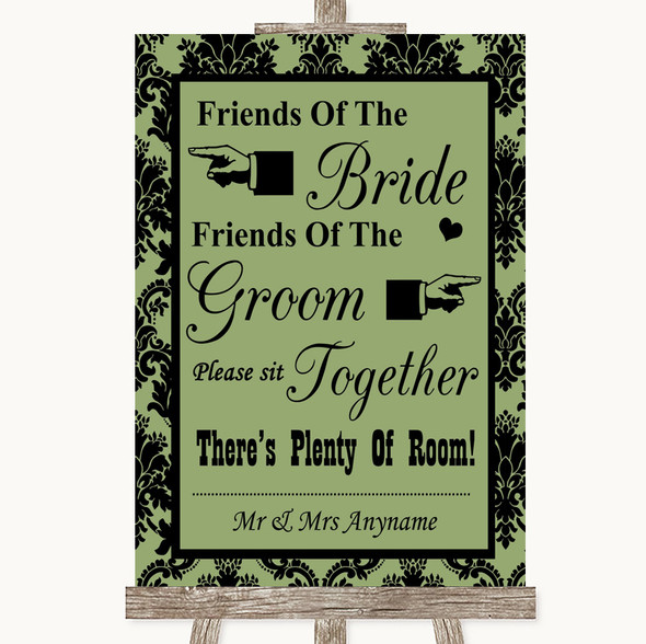 Sage Green Damask Friends Of The Bride Groom Seating Personalised Wedding Sign